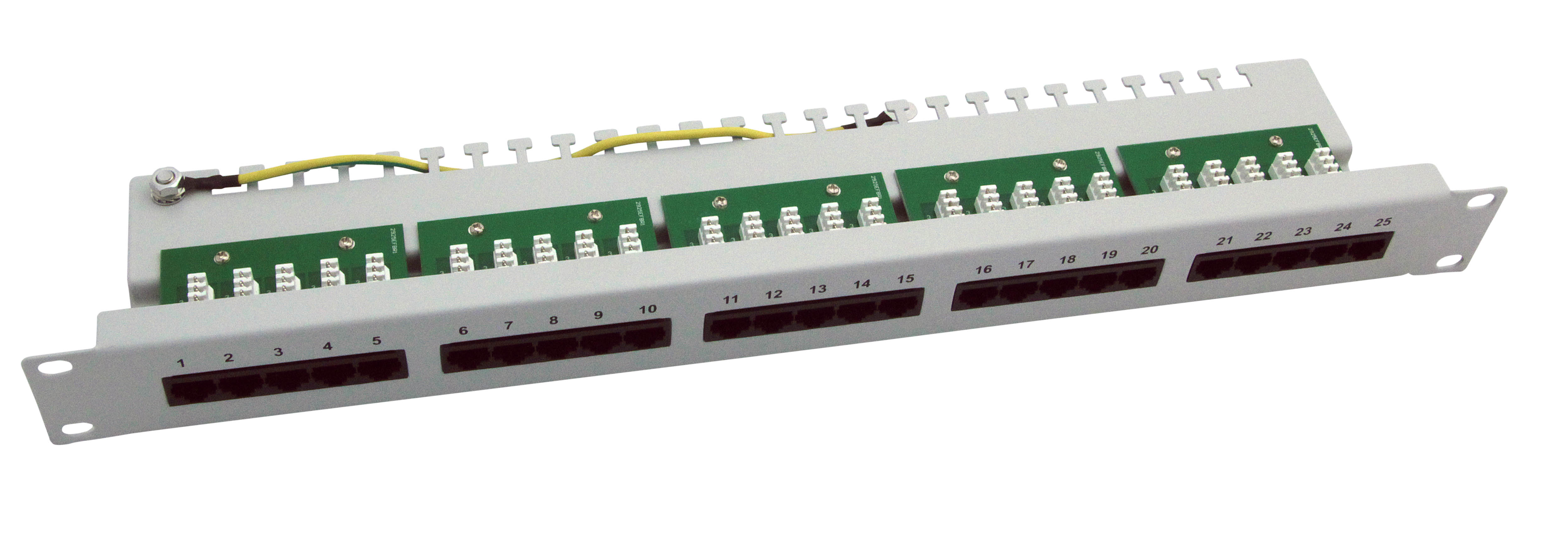 Cat.3 ISDN Patch-Panel 25 Port 1HE - grau RAL 7032