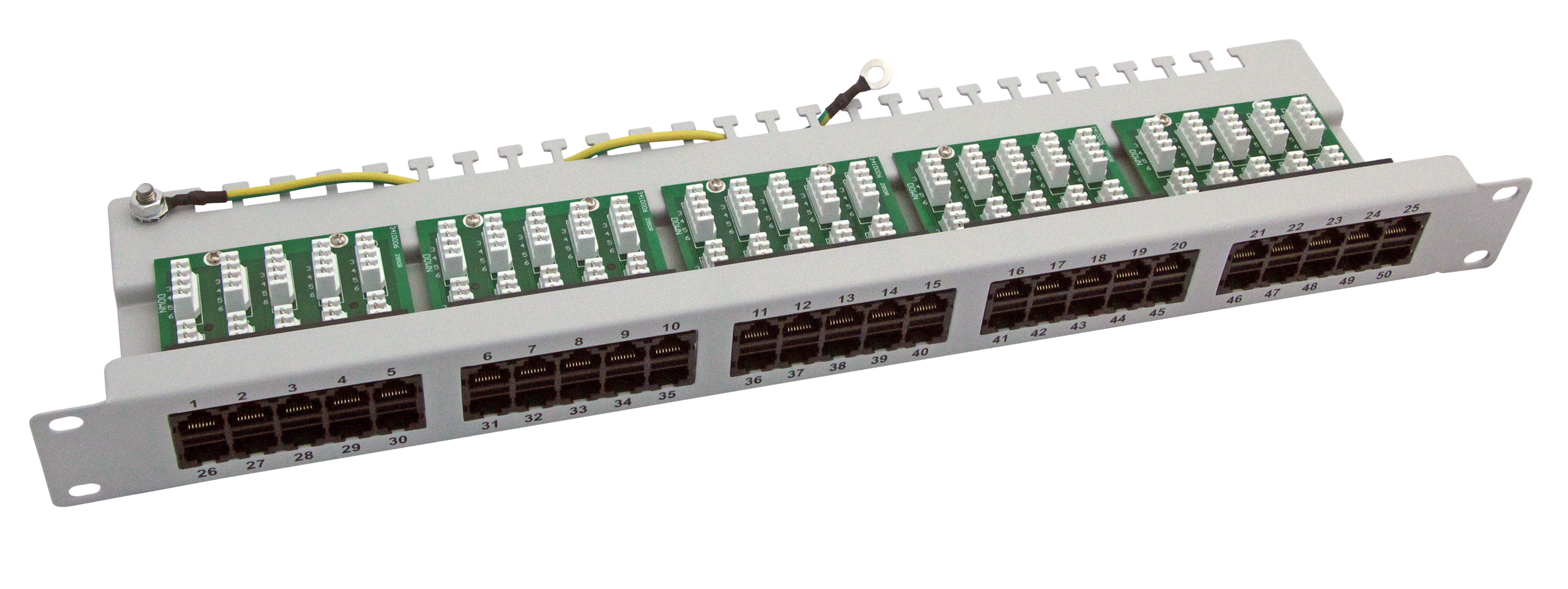 Cat.3 ISDN Patch-Panel 50 Port 1HE - grau RAL 7032