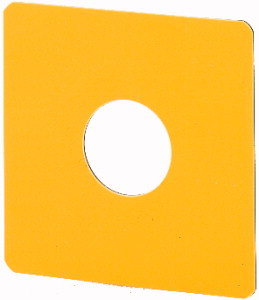 Label, emergency switching off, HxW=50x50mm, yellow, with non-standard inscription