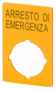 Schild, NOT-HALT, H x B = 50 x 33 mm, gelb, Arresto di emergenza