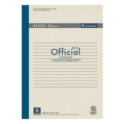 Official Eco Notebook B5 B Rule 30 Sheets