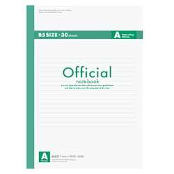 Official Notebook B5 A Rule 30 Sheets