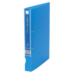 D-Ring File Translucent A4 Vertical Type (34 mm Wide) Blue