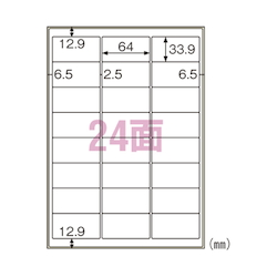 Label for Outdoor Use Oil Surface Compatible A4 24 Pieces with Margin Includes 10 Sheets